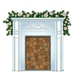 a stack of wood in the false fireplace without vector image vector image