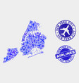 airlines mosaic new york city map and vector image vector image