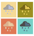 assembly flat icons nature cloud hail vector image vector image