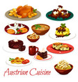 austrian cuisine meat dishes and chocolate cakes vector image vector image