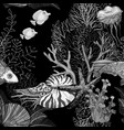 black and white seamless pattern with dark ocean vector image vector image