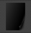 black glossy realistic paper page with curled vector image