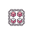 block chain red cryptocurrency modern icon vector image vector image