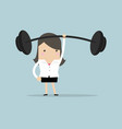 businesswoman holding a heavy barbell vector image
