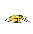 butter and knife simple sketch pen style flat vector image