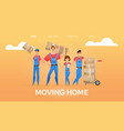 cartoon loaders movers team vector image vector image