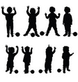 children with prision ball silhouette in black vector image vector image
