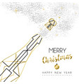 christmas and new year abstract gold line bottle vector image vector image