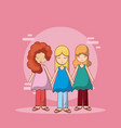 cute hippie people cartoons vector image vector image
