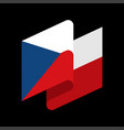 czech republic flag isolated ribbon banner state vector image vector image