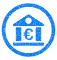 euro bank building rounded icon rubber stamp vector image vector image