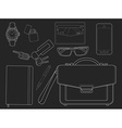 Every day carry man items Businessman Chalkboard vector image