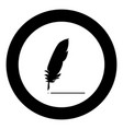feather icon black color in circle vector image vector image