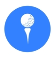 Golf ball on tee icon in black style isolated on vector image vector image