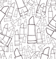 Hand drawn cosmetics lipsticks seamless pattern vector image