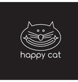 happy cat with sausage design template vector image vector image