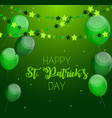 happy saint patricks day background with balloons vector image