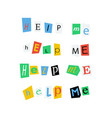 help me phrases made up from colorful newspaper vector image vector image