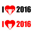 I love year 2016 New year of monkey Symbol of vector image vector image