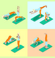 isometric woman yoga poses exercise gym workout vector image vector image