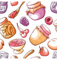 jam and sweet fruit marmalade seamless pattern vector image vector image