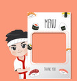 japan chef menu vector image vector image