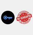 key gear icon and grunge iso guarantee vector image vector image