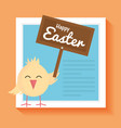 little chick easter with wooden label character vector image