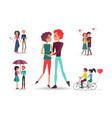 loving girls and boys with red hearts on white vector image