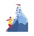 man and robot climbing mountain achieving goal vector image vector image