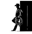 man with cowboy hat and lasso digital sketch hand vector image vector image