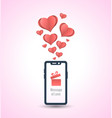 message of love with smartphone and hearts vector image