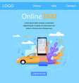 online taxi square banner mobile application vector image vector image
