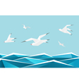 Paper sea with birds origami gulls above waves vector image vector image