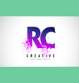 rc r c purple letter logo design with liquid vector image vector image