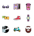 rest icons set cartoon style vector image vector image