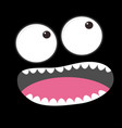 sad face emotion boo spooky big eyes tooth tongue vector image