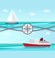 sailboat and ship with ropes vector image vector image