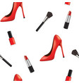 seamless pattern with woman shoe and makeup vector image vector image