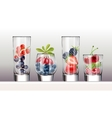 set icons glasses with a variety fresh berries vector image