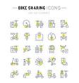 set line icons bike sharing vector image