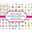 set seamless patterns with ice cream and candies vector image vector image