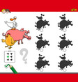 shadows activity game with farm animals vector image vector image