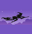 silhouette of a rapid witch flying on a broomstick vector image vector image