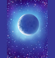 starry sky with moon crescent vector image vector image