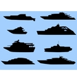 The silhouettes of the boats 8 pieces vector image