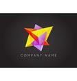 Trendy Crystal Triangulated Gem Logo Element vector image vector image