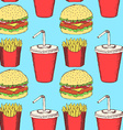 Sketch fast food in vintage style vector image