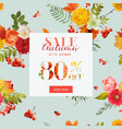 autumn sale floral banner with maple leaves vector image