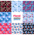 Abstract floral seamless pattern set vector image vector image